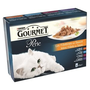 Gourmet 5x gourmet perle 8-pack pouch mini filets in saus