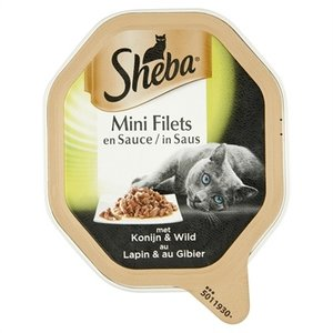 Sheba 22x sheba alu mini filets konijn / wild in saus