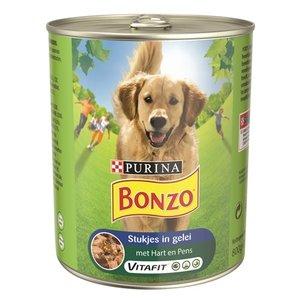 Bonzo 12x bonzo blik stukjes in gelei hart / pens