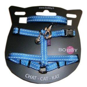 Bobby Bobby kattentuig en looplijn nylon reflecterend blauw