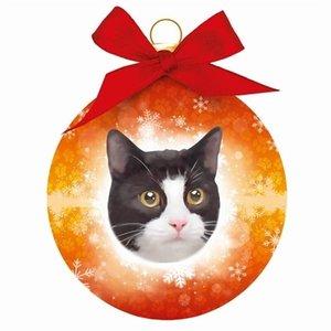 Plenty gifts Plenty gifts kerstbal kat zwart / wit