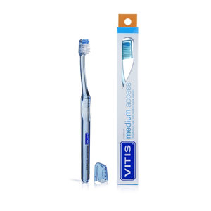 Vitis Vitis Tandenborstel Medium Access - 1st + Gratis Vitis Gingival Tandpasta Mini