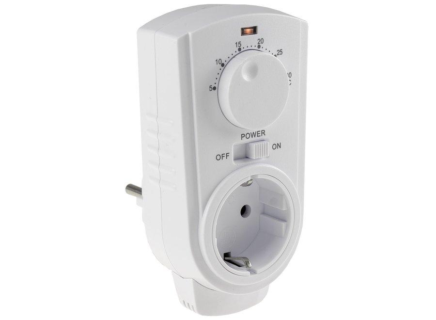 Eenvoudige stopcontact thermostaat met draaiknop