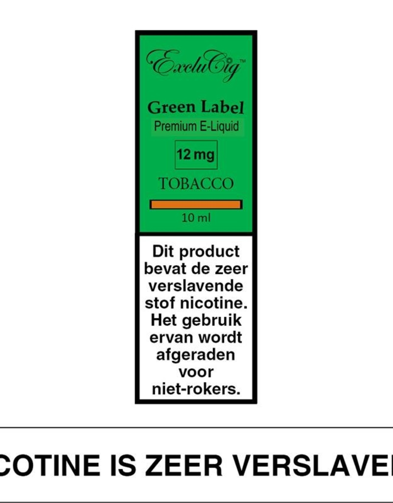 Exclucig Exclucig Green Label E-liquid Tobacco 12 mg Nicotine