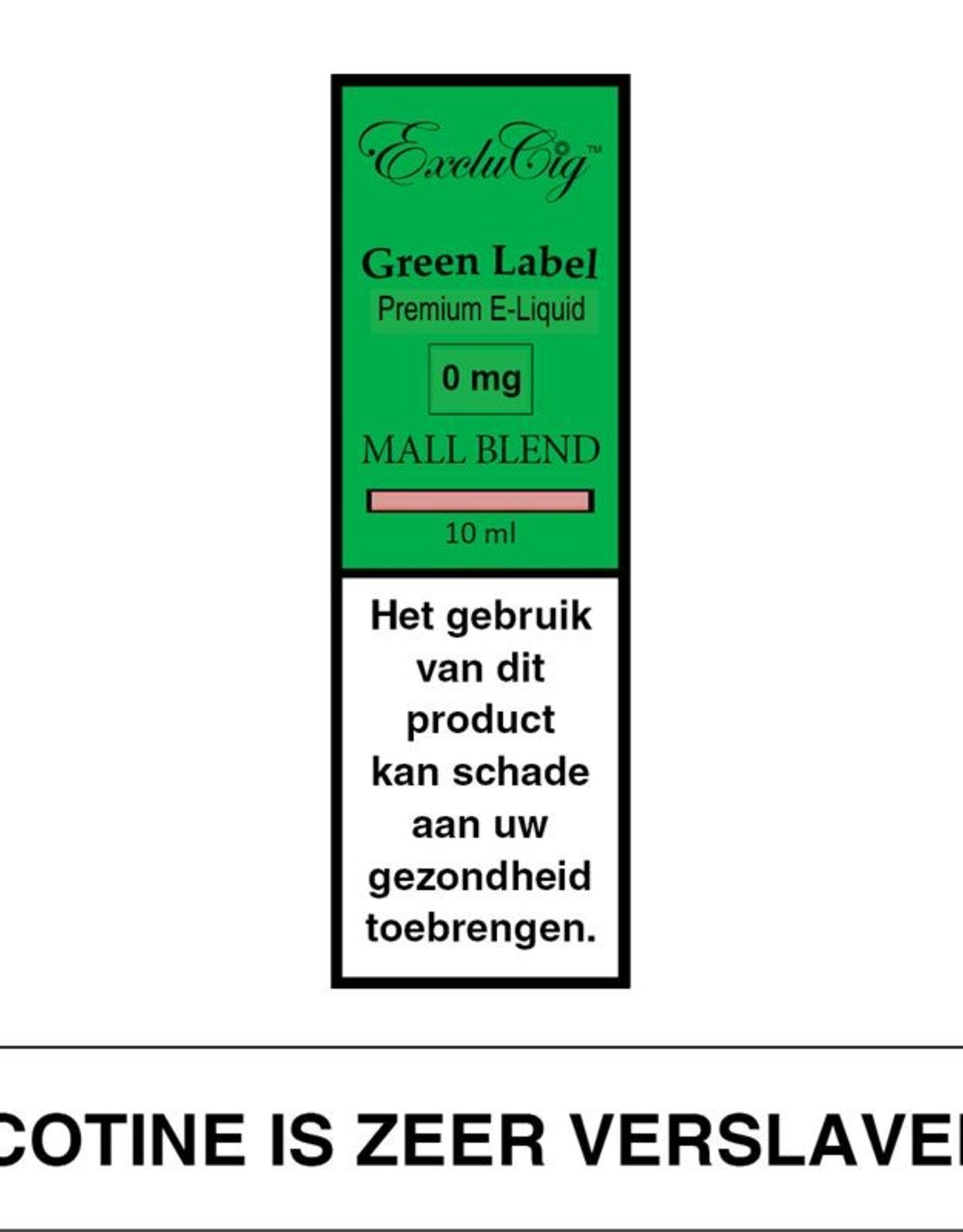 Exclucig Exclucig Green Label E-liquid Mall Blend 0 mg Nicotine