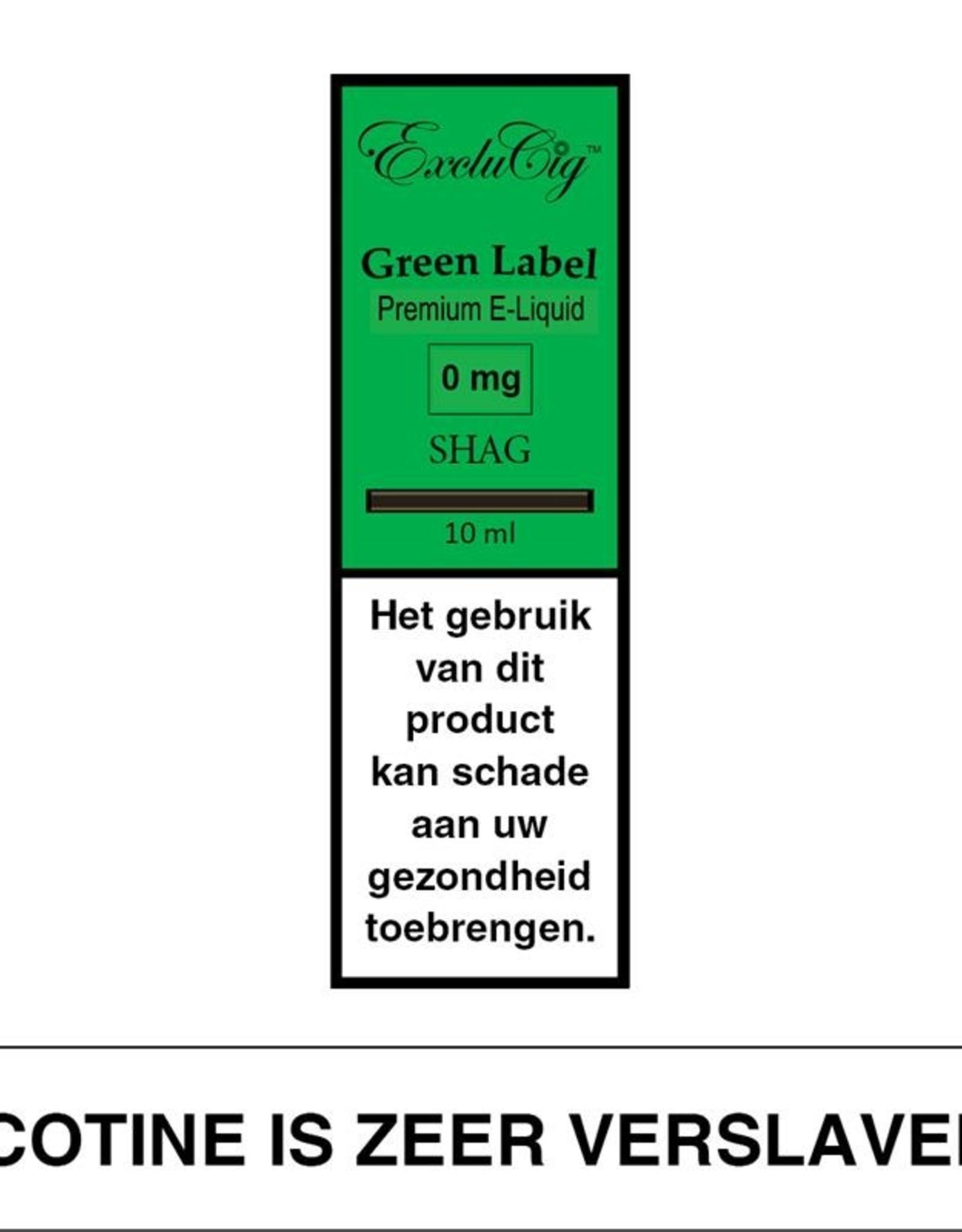 Exclucig Exclucig Green Label E-liquid Shag 3 mg Nicotine