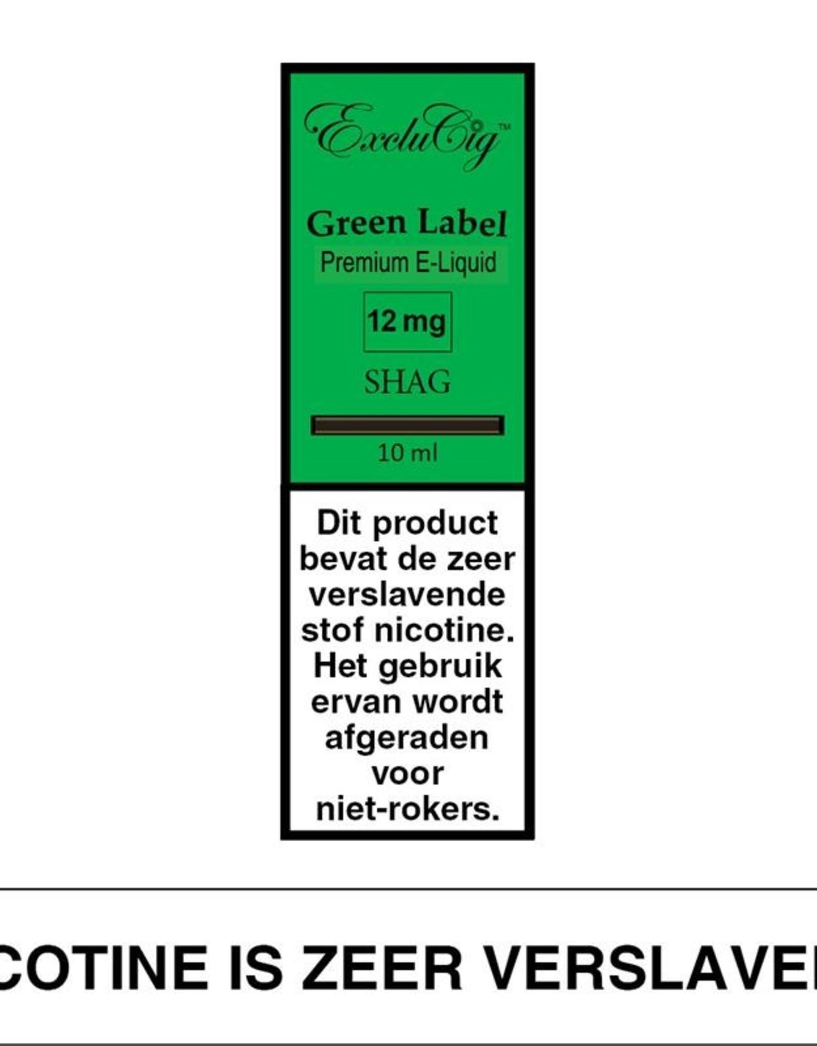 Exclucig Exclucig Green Label E-liquid Shag 12 mg Nicotine