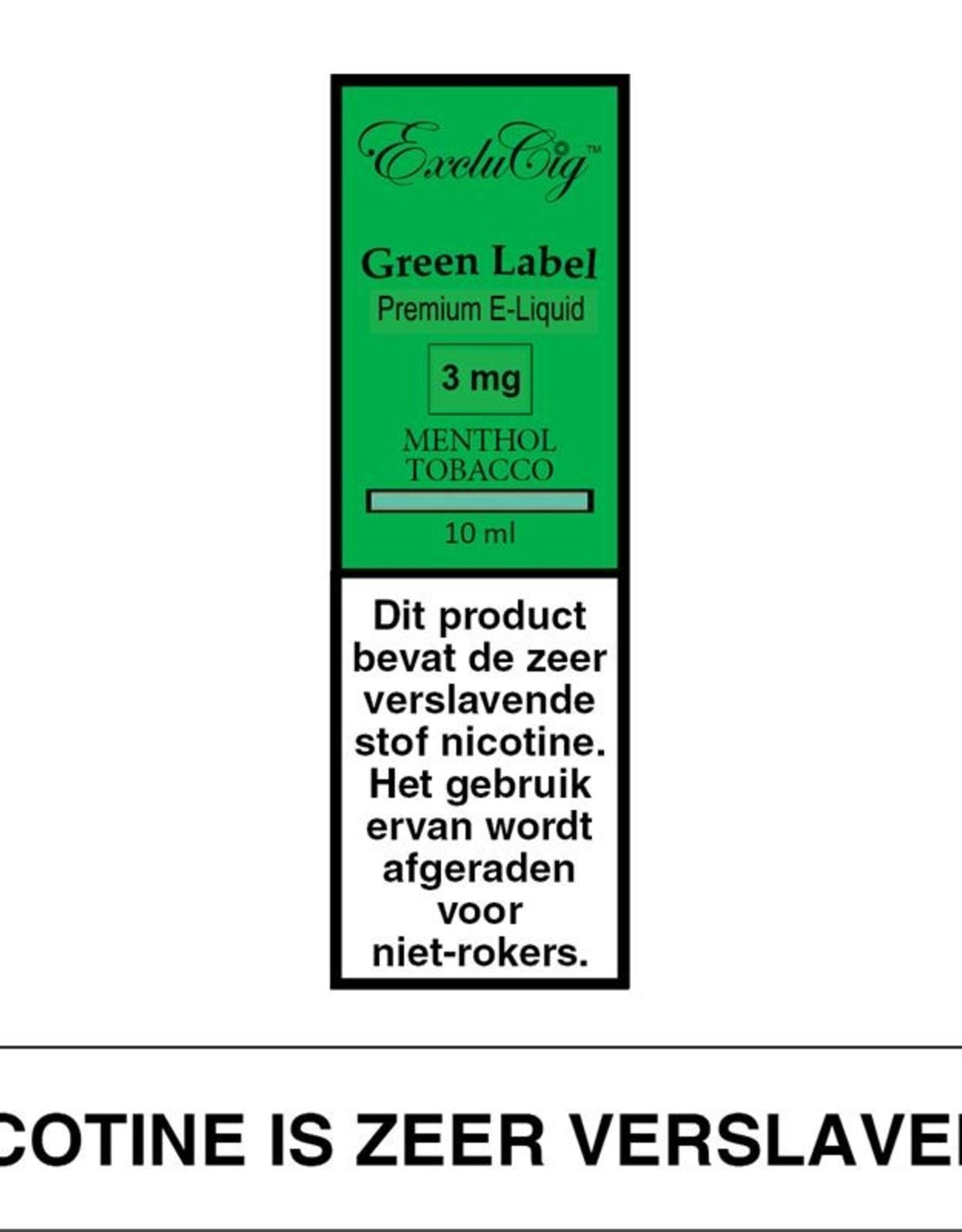 Exclucig Exclucig Green Label E-liquid Menthol Tobacco 3 mg Nicotine