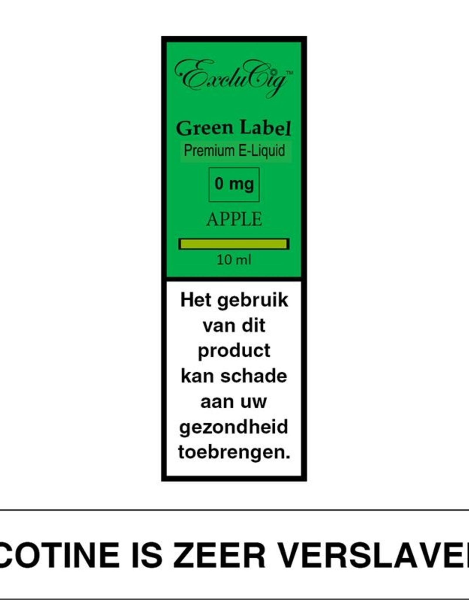 Exclucig Exclucig Green Label E-liquid Apple 0 mg Nicotine