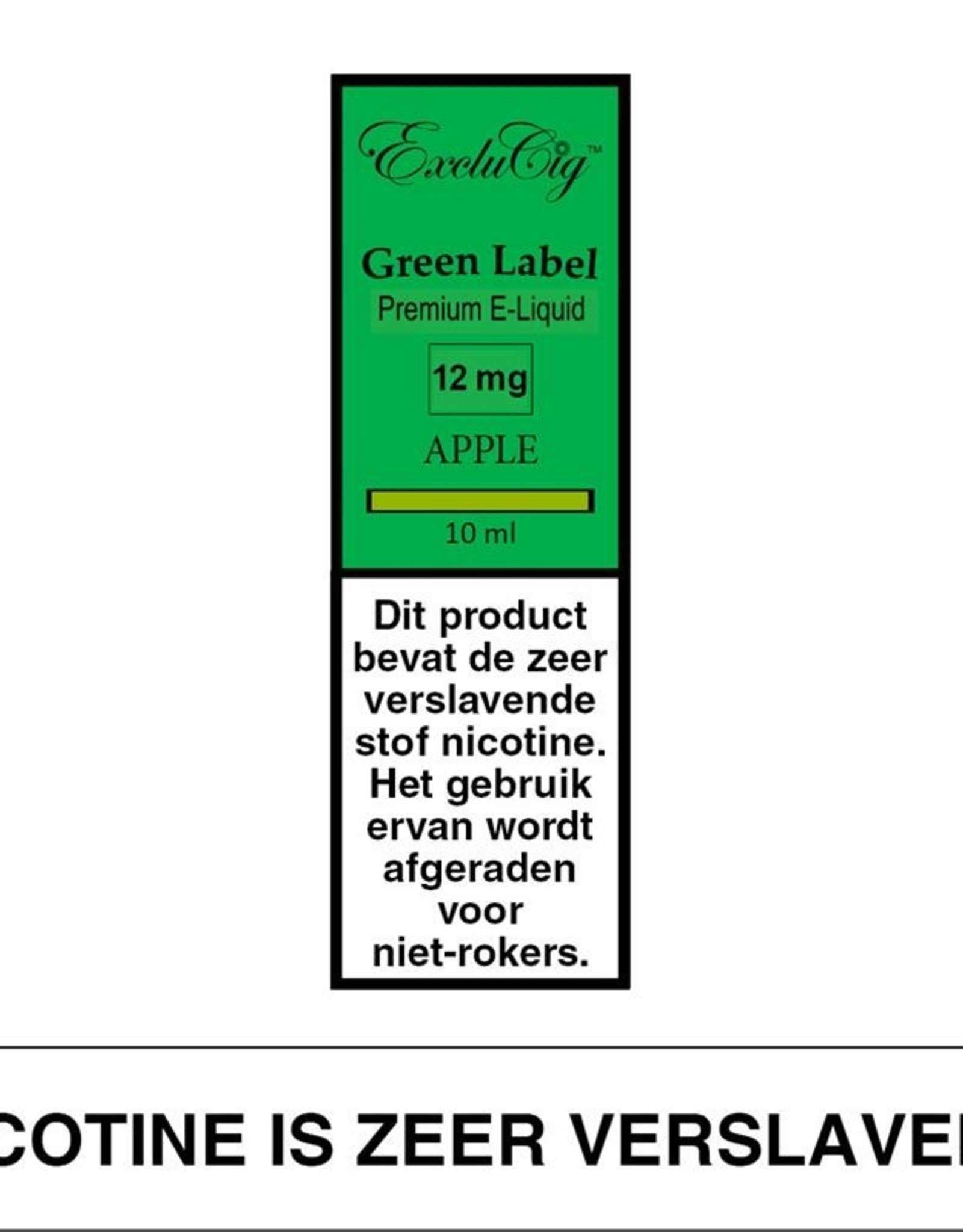 Exclucig Exclucig Green Label E-liquid Apple 12 mg Nicotine