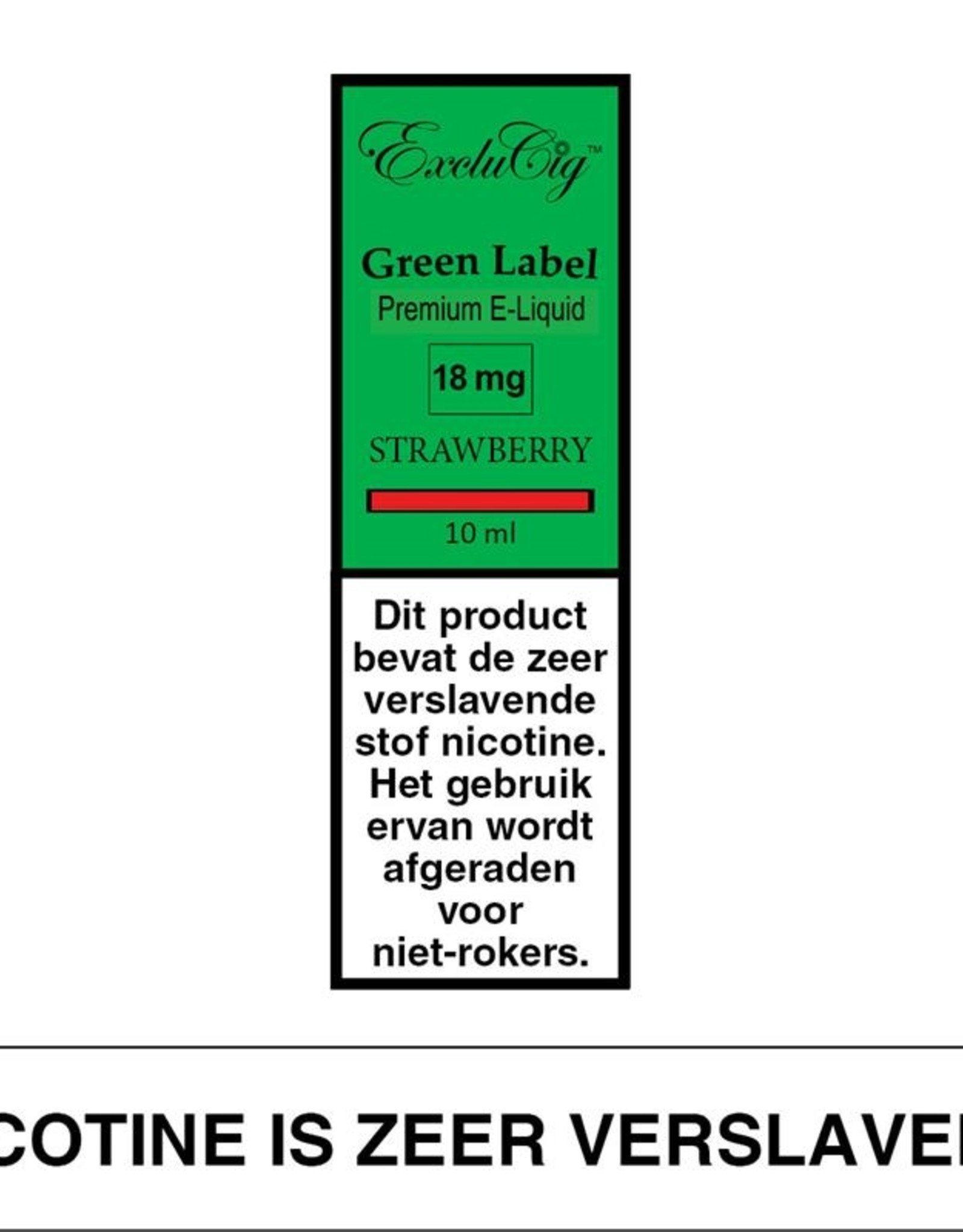 Exclucig Exclucig Green Label E-liquid Strawberry 18 mg Nicotine