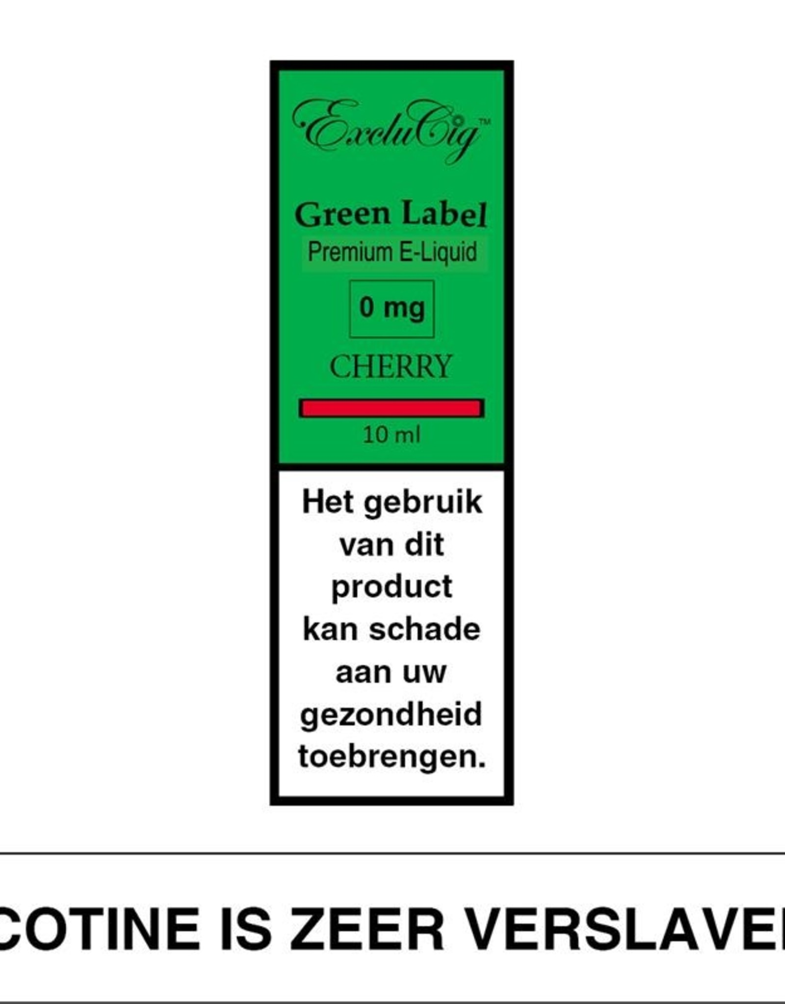 Exclucig Exclucig Green Label E-liquid Cherry 0 mg Nicotine