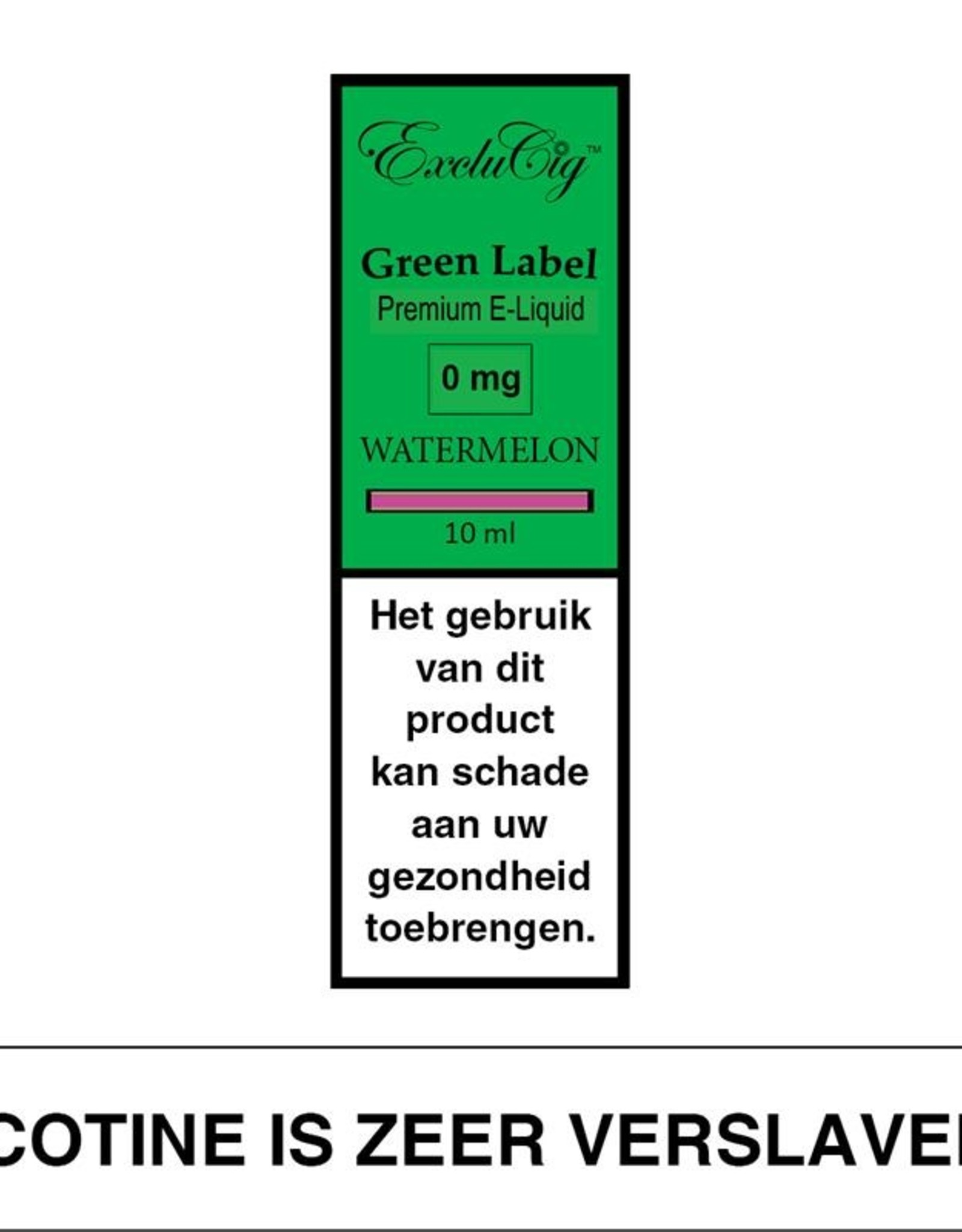 Exclucig Exclucig Green Label E-liquid Watermelon 0 mg Nicotine