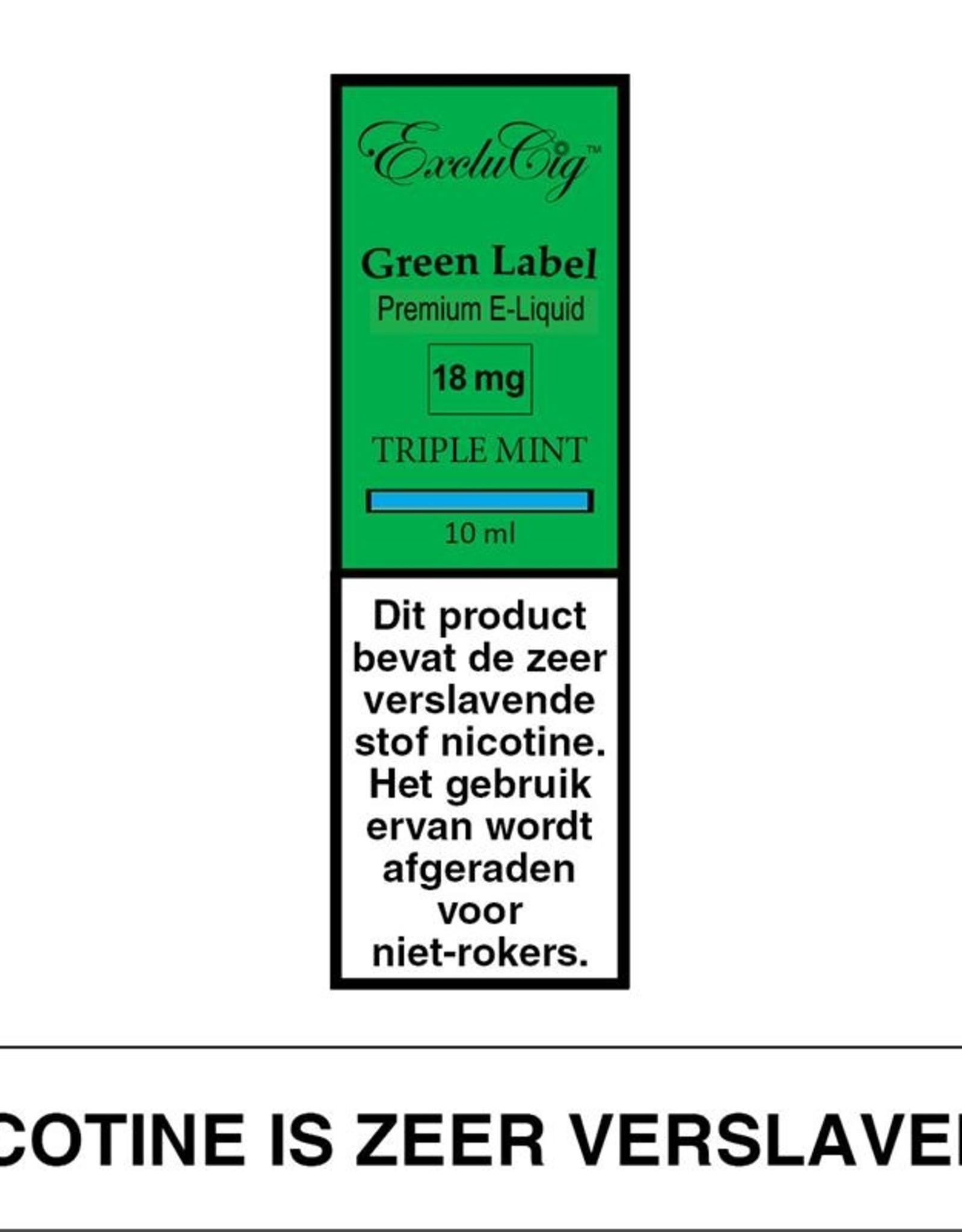 Exclucig Exclucig Green Label E-liquid Triple Mint 18 mg Nicotine