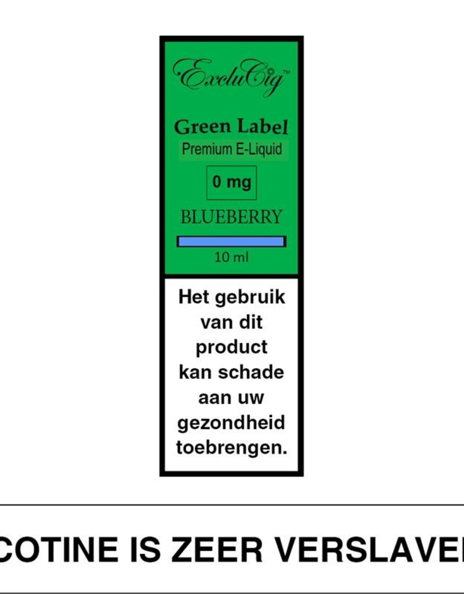 Exclucig Exclucig Green Label E-liquid Blueberry 0 mg Nicotine