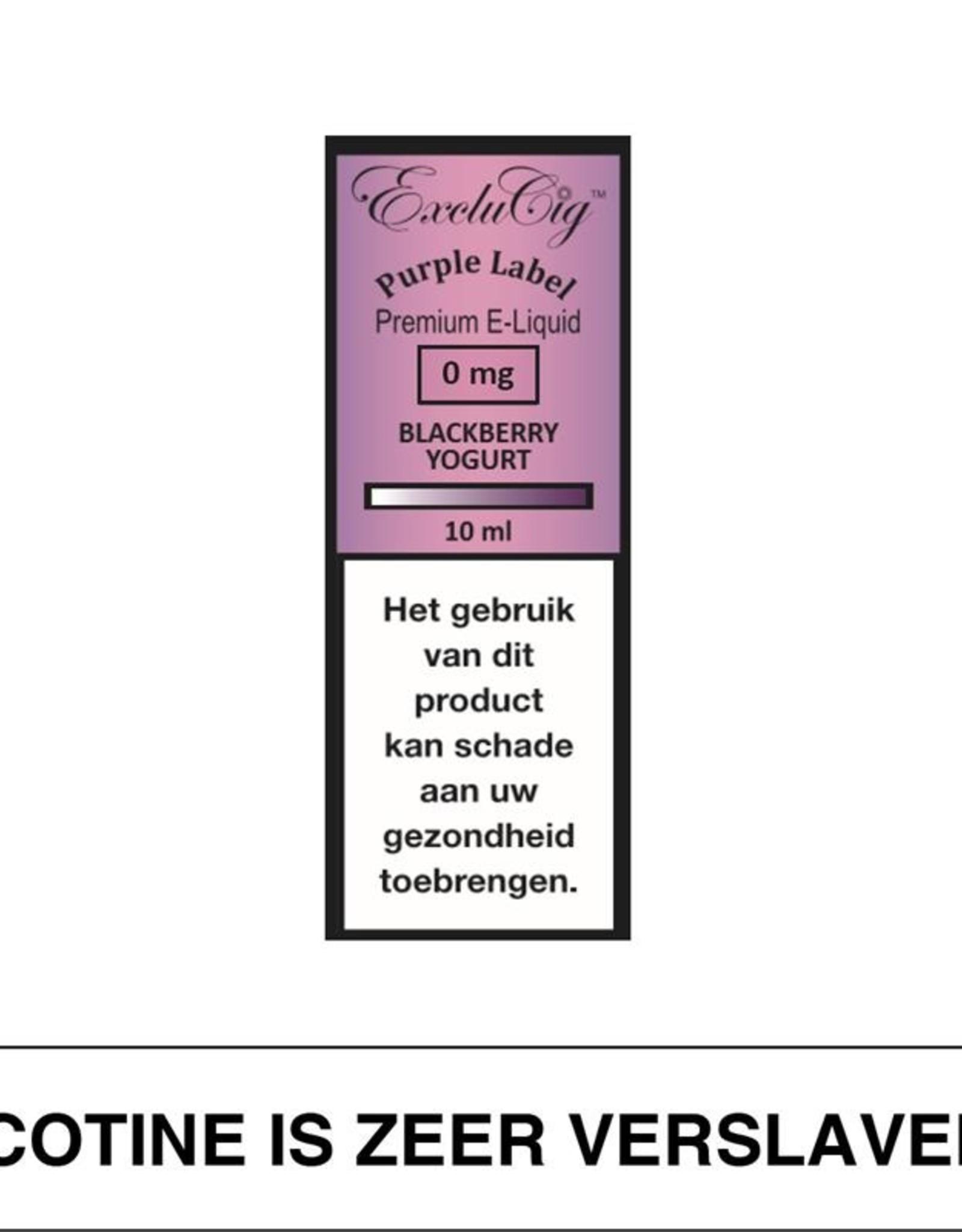 Exclucig Exclucig Purple Label E-Liquid Blackberry Yoghurt 0 mg Nicotine