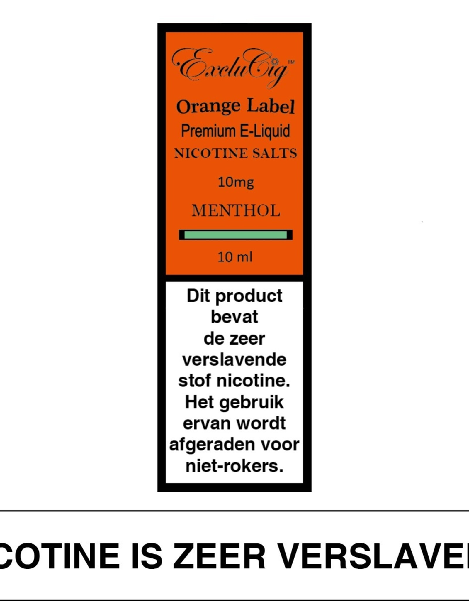 Exclucig Exclucig Orange Label E-liquid Menthol 10 mg Nicotinezout