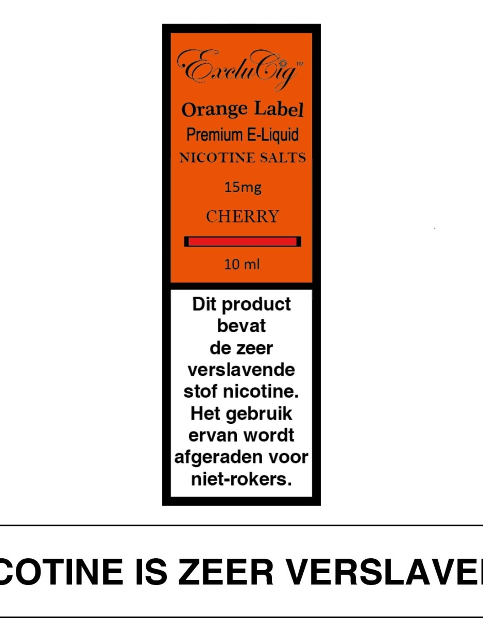 Exclucig Exclucig Orange Label E-liquid Cherry 15 mg Nicotinezout