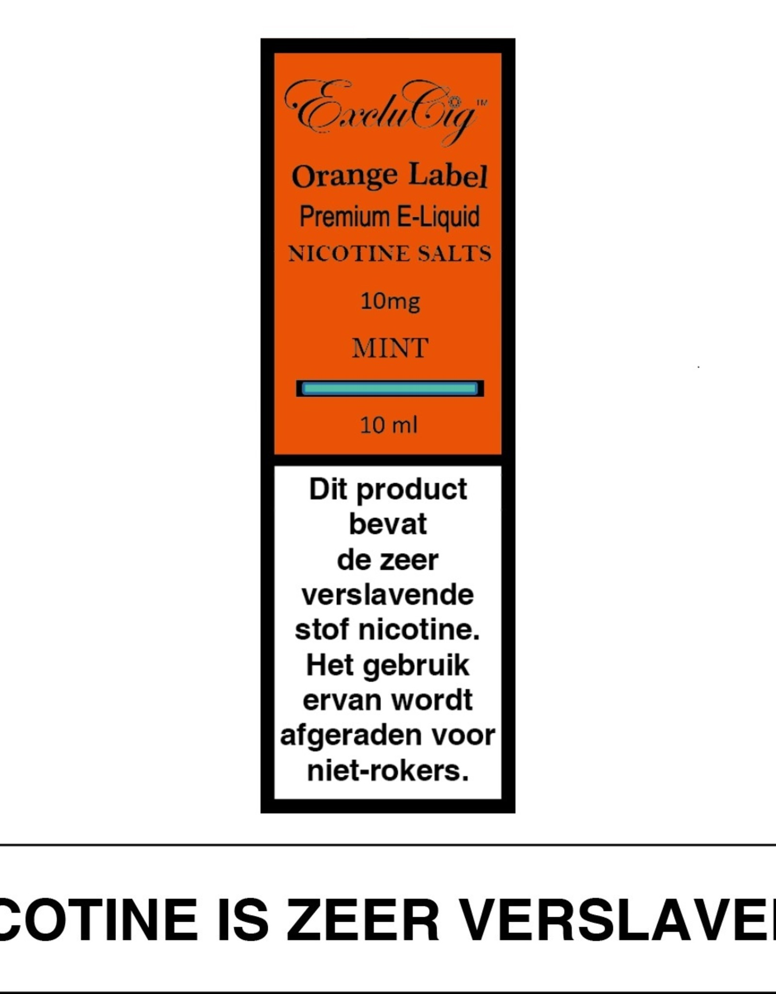 Exclucig Exclucig Orange Label E-liquid Mint 10 mg Nicotinezout