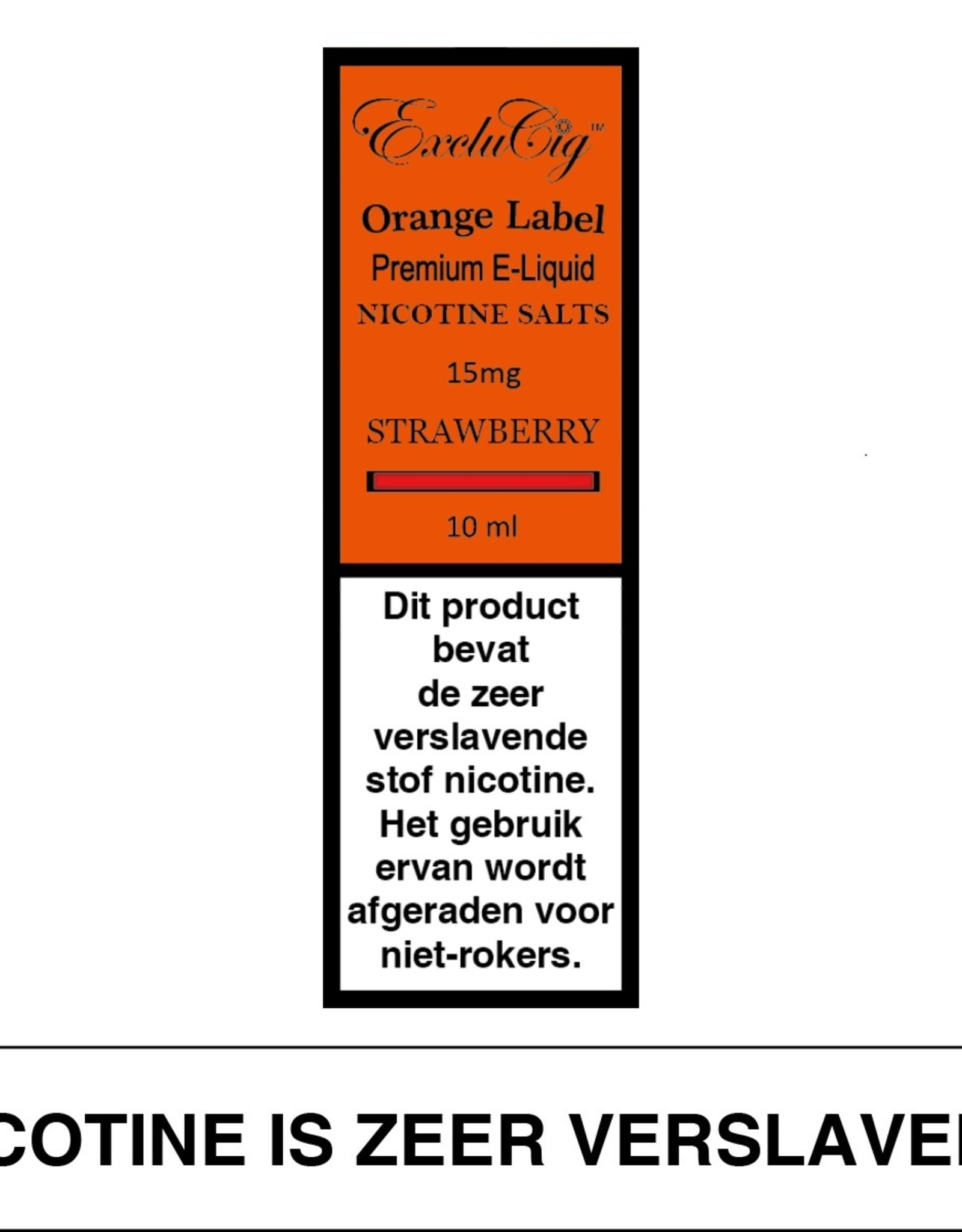 Exclucig Exclucig Orange Label E-liquid Strawberry 15 mg Nicotinezout