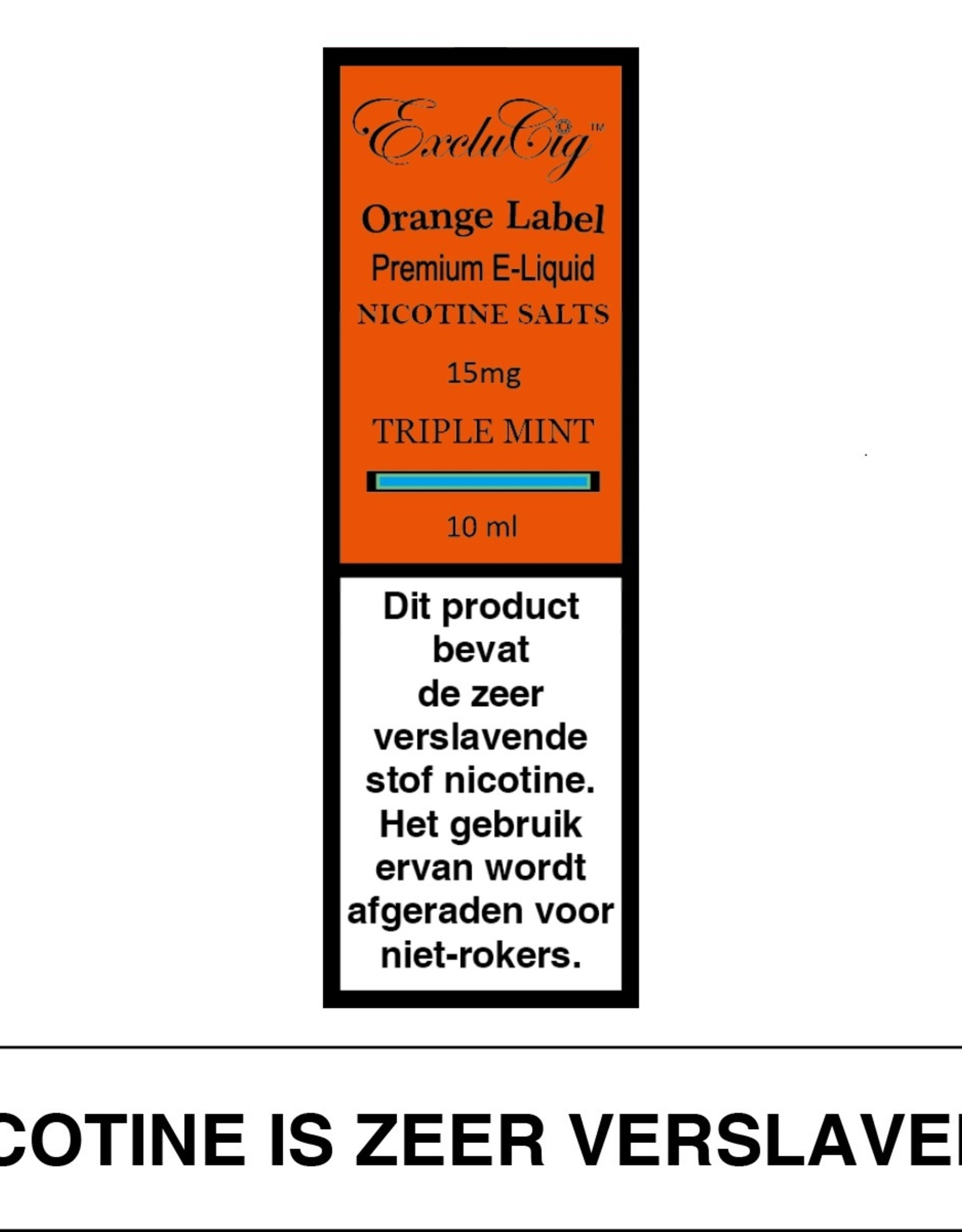 Exclucig Exclucig Orange Label E-liquid Triple Mint 15 mg Nicotinezout