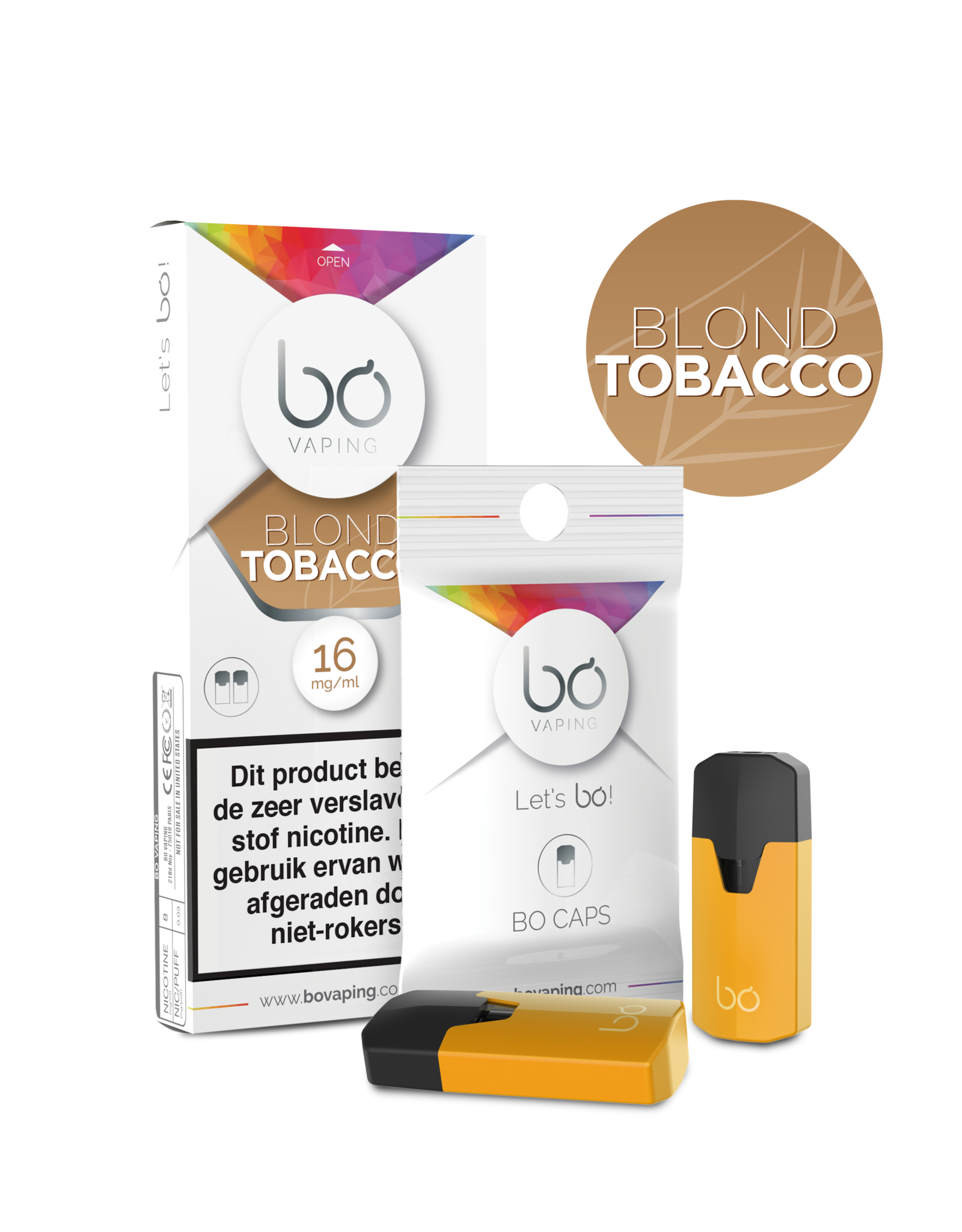 Bo Vaping Bo Vaping Caps Blond Tobacco 16 mg Nicotine 2 stuks