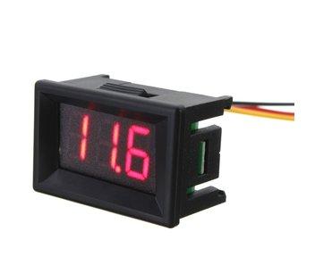 Digitale voltmeter voor paneel 3 tot 30 v Rood