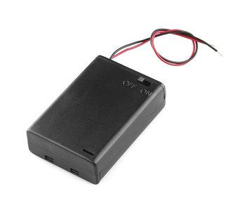 Gesloten batterijhouder 3xAA met Schakelaar