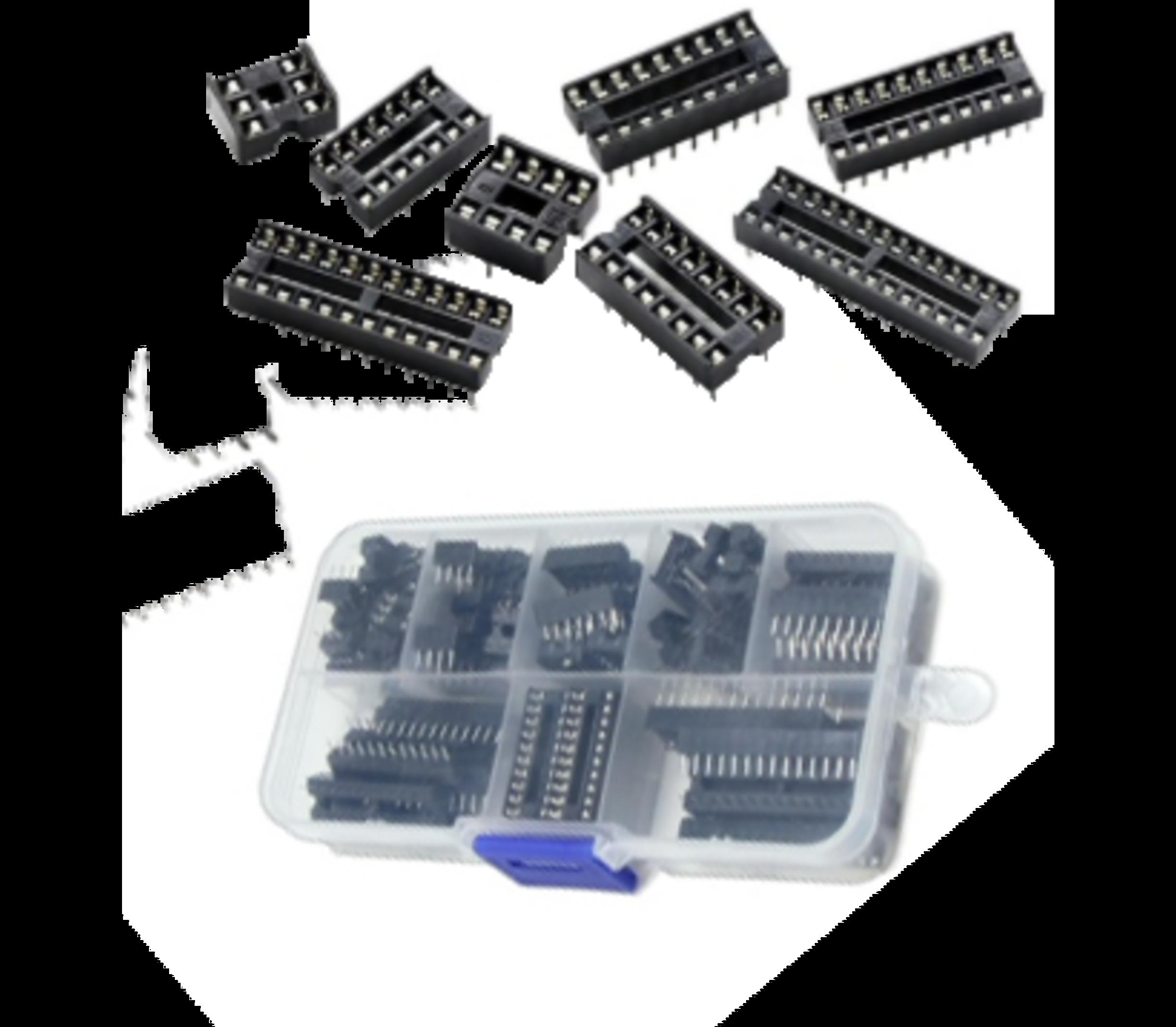 IC Socket dip set in kunstofbox
