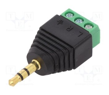 Jack plug stereo 3,5mm naar schroefconnector