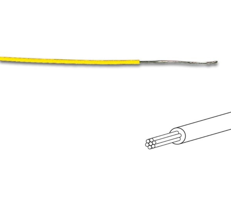 MONTAGEDRAAD  Geel 0.2 mm²  - Soepele kern 100 mtr rol