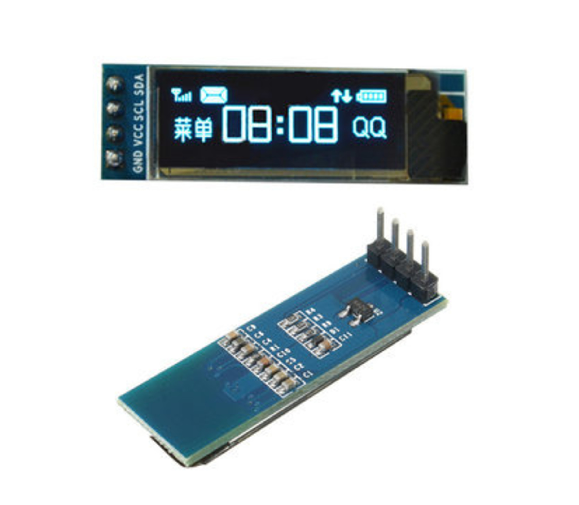 Oled display 0.91 I2C  3,3V-5V blauw