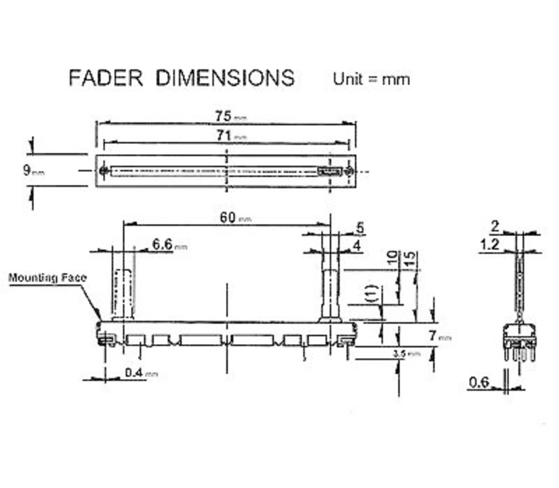 Schuif-potentiometer 10K ohm