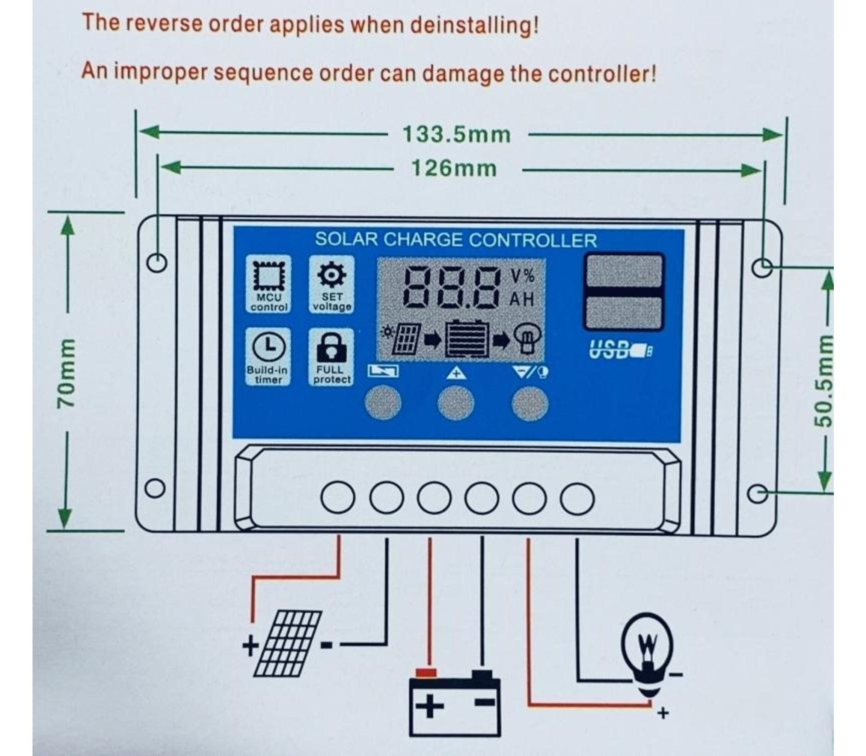 Zonnepaneel laad regelaar  12-24V Solar charge controller 10A