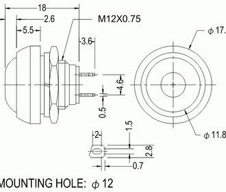 PBS33B drukknop zwart terugverend maakcontact