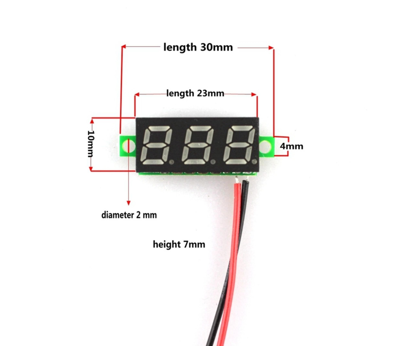 Mini digitale voltmeter DC 4,7 tot 32 v rood