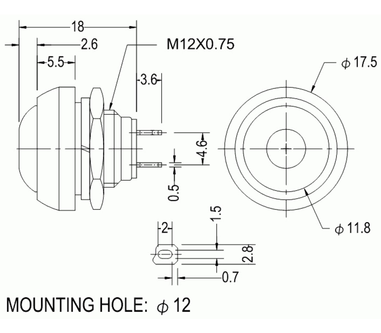 PBS1-11A drukknop geel vasthoudend maakcontact