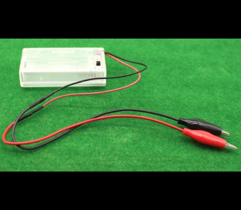 Batterij houder 2 x AA gesloten behuizing met krokodillen kabel