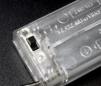 Gesloten batterij houder doorzichtig 2xAA met Schakelaar