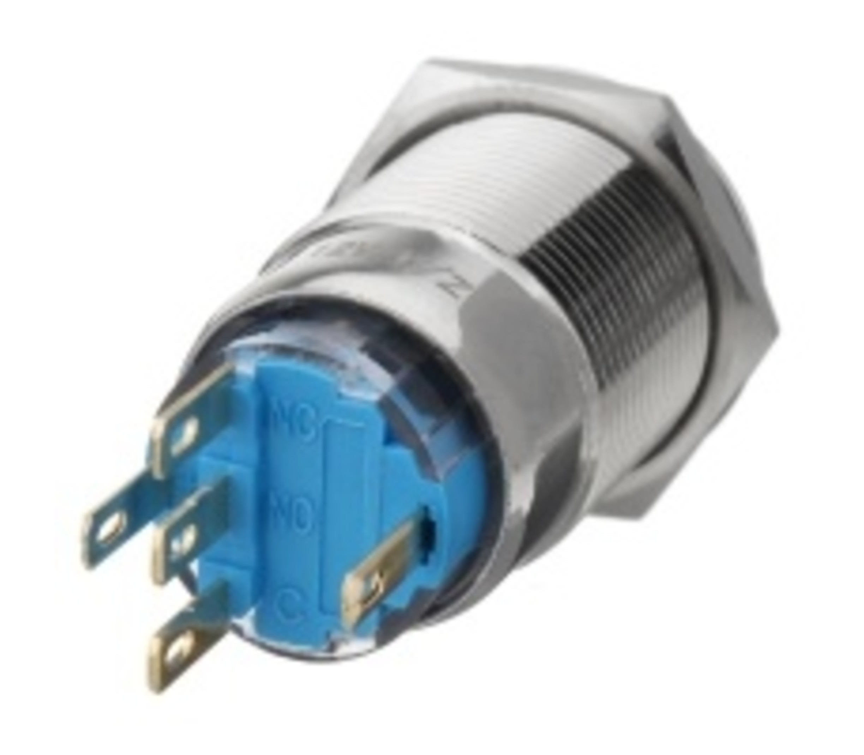 Push button RVS wisselcontact rode verlichting 3-6v