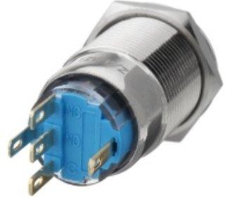 Push button RVS wisselcontact blauwe verlichting 3-6v