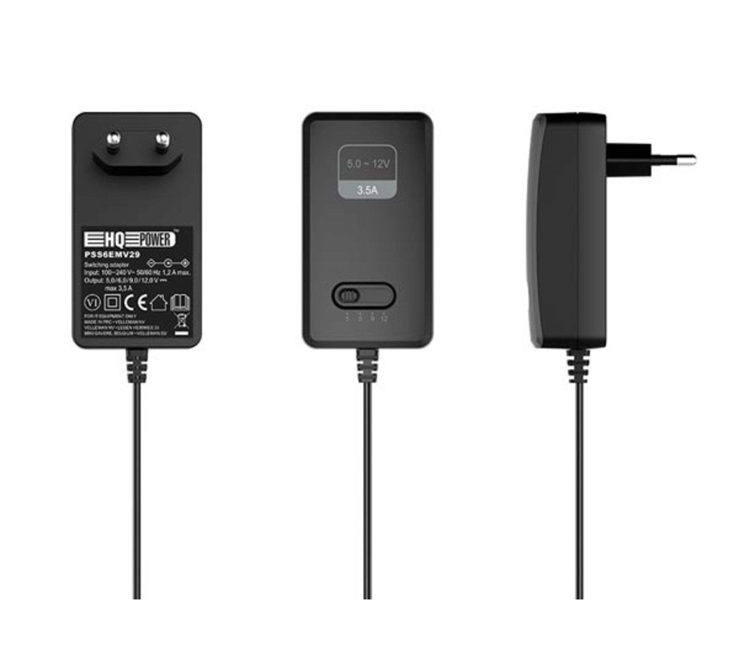 Instelbare voeding 5 tot 12 V dc - 42 W - 3.5 A max.