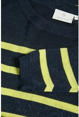 Kaffe Kaffe KAsiri Lurex Pullover Midnight Marine/Neon Stripe
