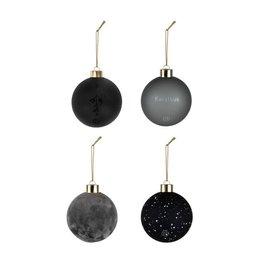 Zusss Zusss Doosje met 4 Kerstballen Off-Black