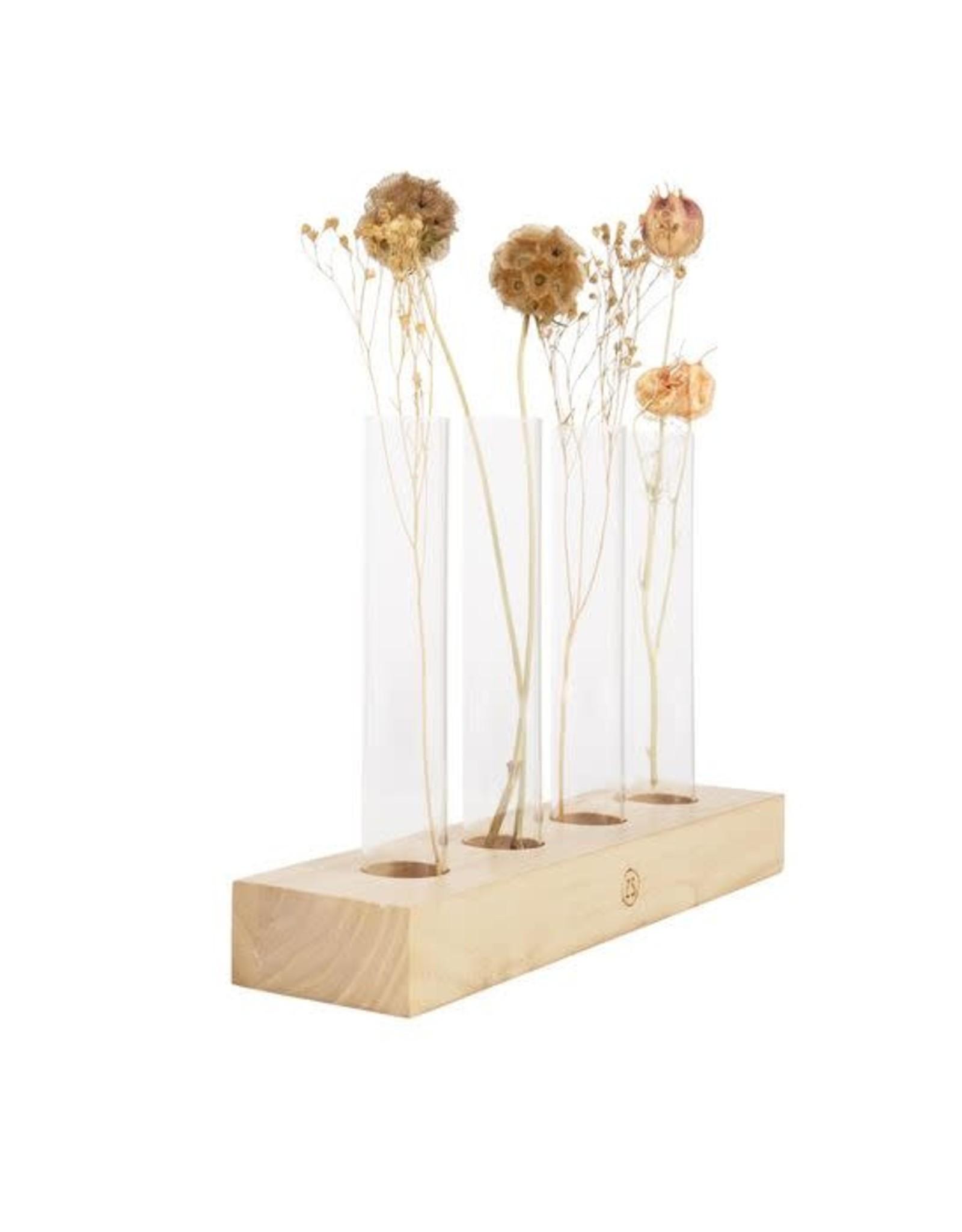Zusss Zusss Set van 4 vaasjes in houtenvoet