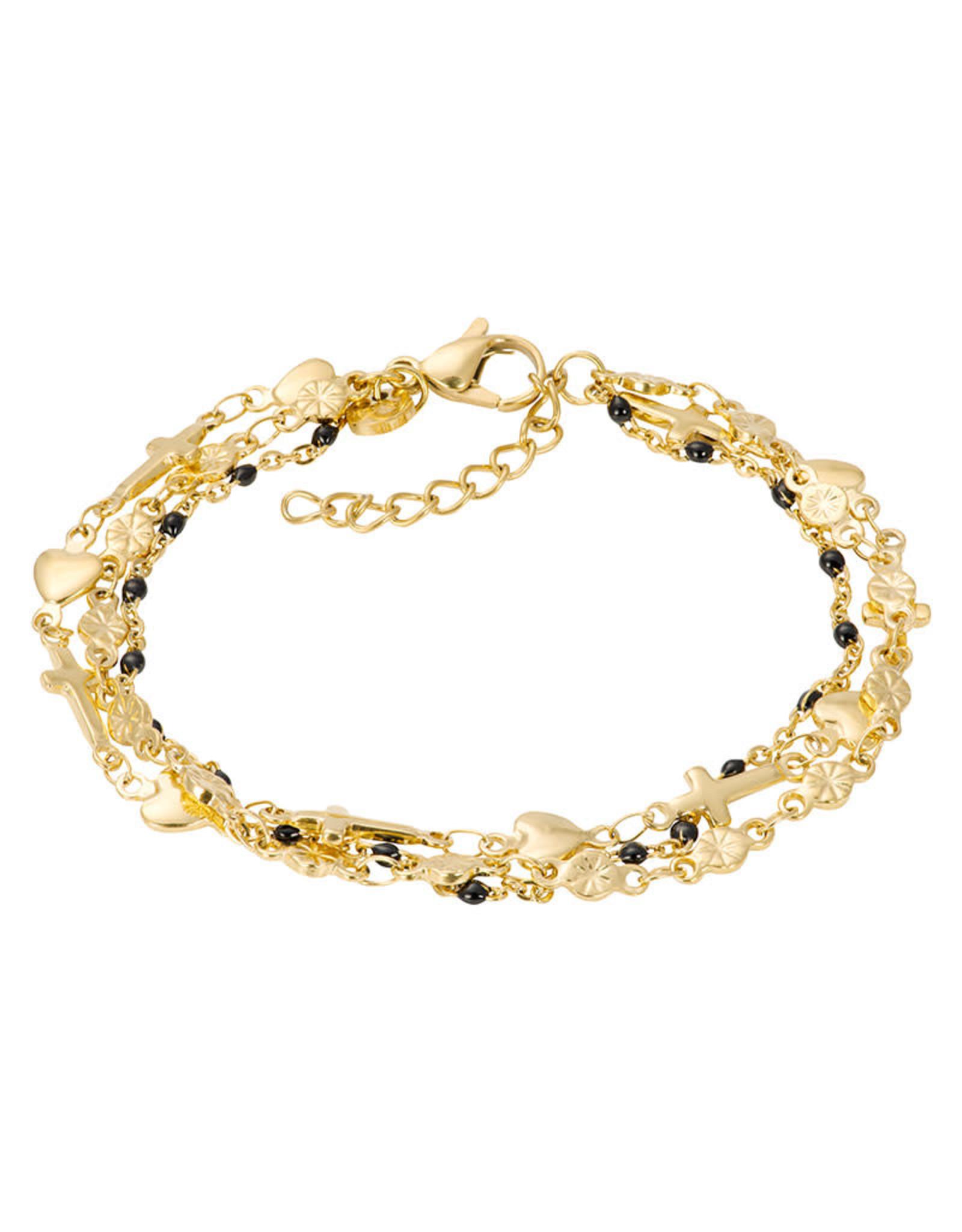 IXXXI IXXXI Bracelets Ghana (black beads) Gold
