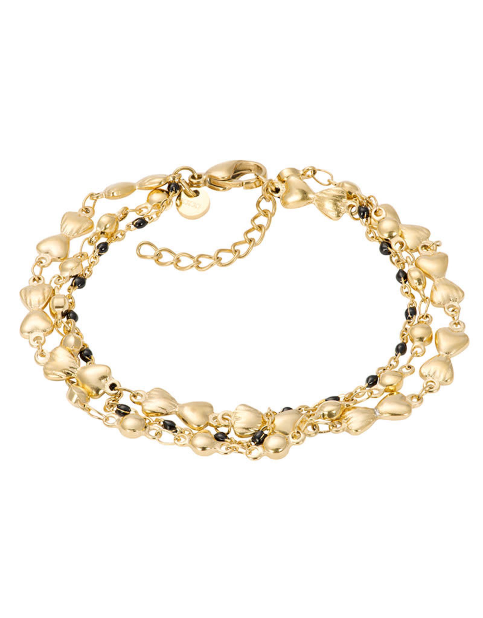 IXXXI IXXXI Bracelets Botswana (black beads) Gold