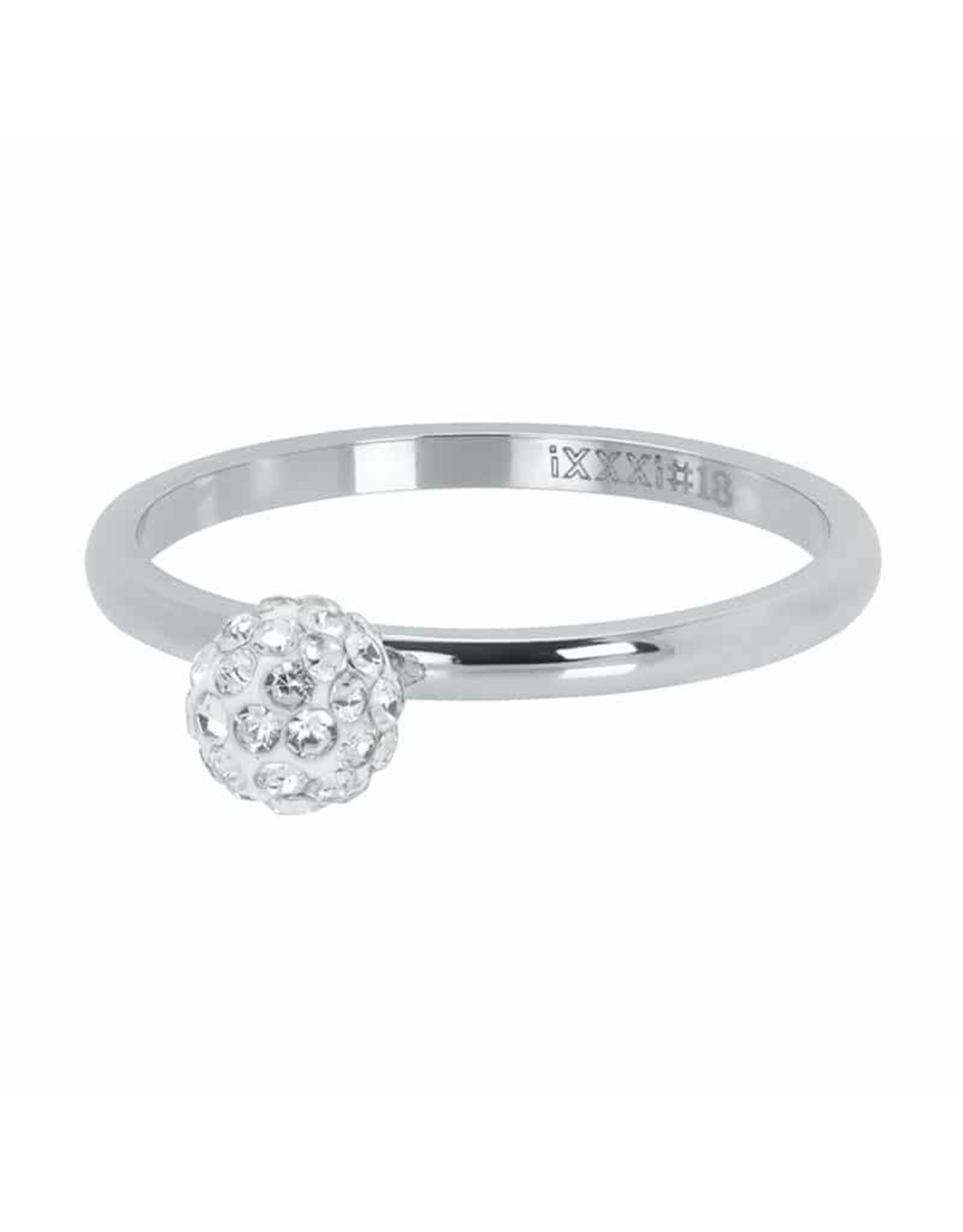IXXXI IXXXI Ball Fill Clear Crystal ring Zilver 15
