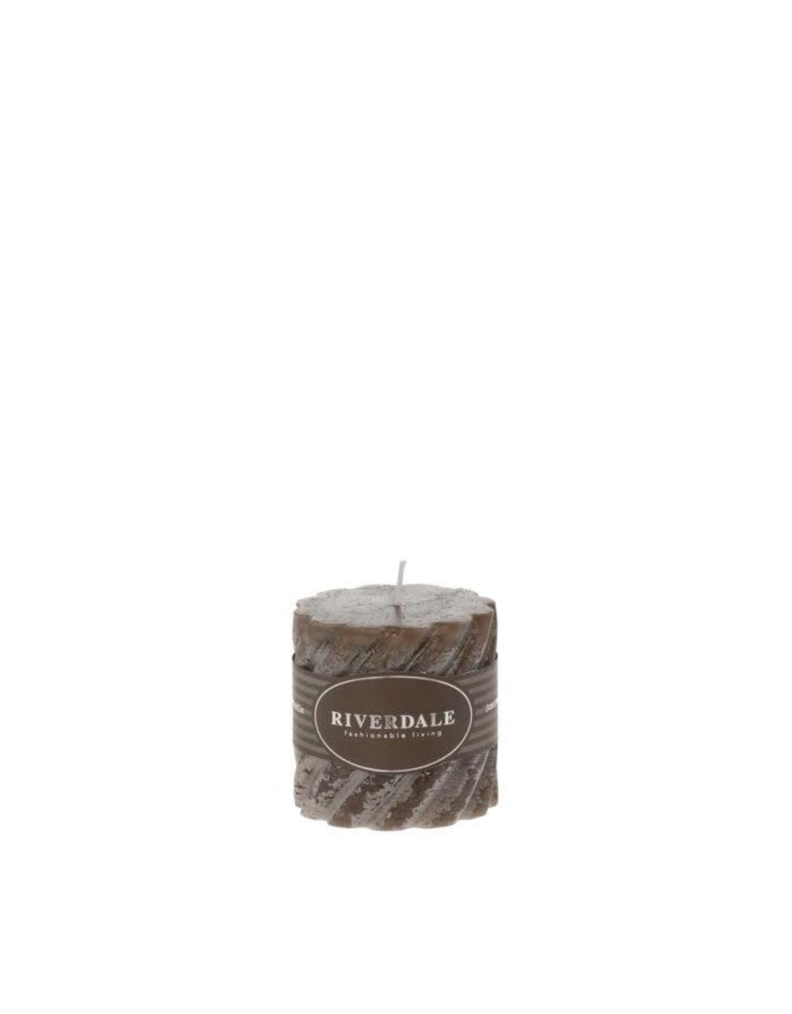 Riverdale Riverdale Geurkaars Swirl mokka  7,5 x 7,5 cm