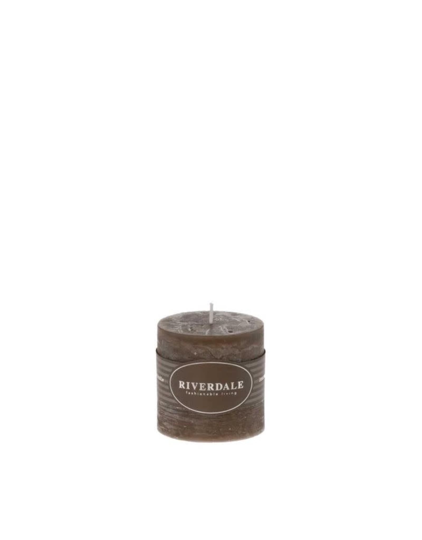 Riverdale Riverdale Geurkaars Pillar mokka 7,5 x 7,5 cm